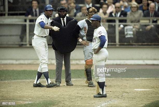 World Series New York Mets Donn Clendenon arguing with home plate umpire Lou DiMuro that Cleon Jones was hit by pitch vs Baltimore Orioles Game 5...