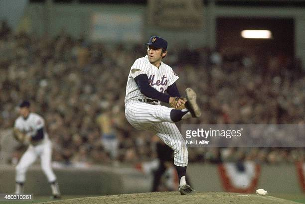 World Series New York Mets Jerry Koosman in action pitching vs Oakland Athletics at Shea Stadium Game 5 Flushing NY CREDIT Neil Leifer