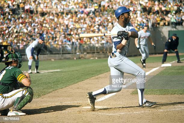 World Series New York Mets John Milner in action at bat vs Oakland Athletics vs at OaklandAlameda County Coliseum Game 7 Oakland CA CREDIT Neil Leifer