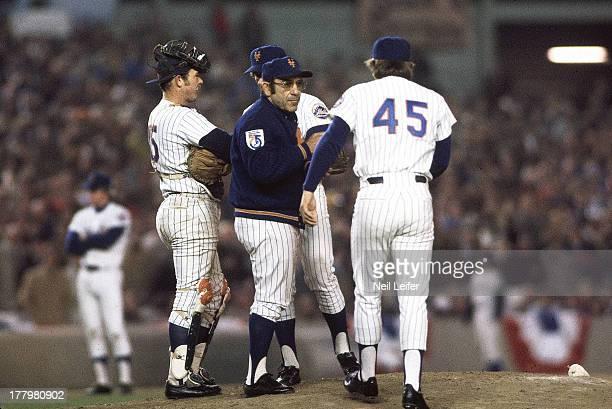 World Series New York Mets manager Yogi Berra on mound as Tug McGraw enters Game 5 vs Oakland Athletics at Shea Stadium Flushing NY CREDIT Neil Leifer