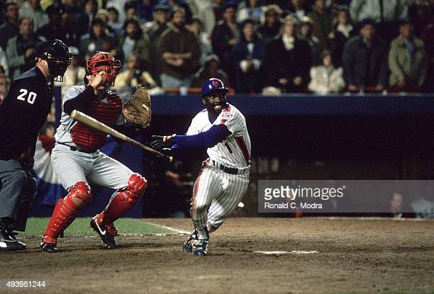 World Series New York Mets Mookie Wilson in action at bat vs Boston Red Sox at Shea Stadium Game 6 Wilson drives in winning run Flushing NY CREDIT...
