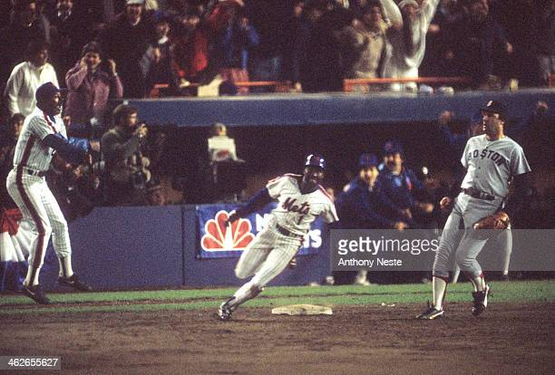 World Series New York Mets Mookie Wilson in action running bases after hitting ground ball vs Boston Red Sox Bob Stanley at Shea Stadium Wilson's...
