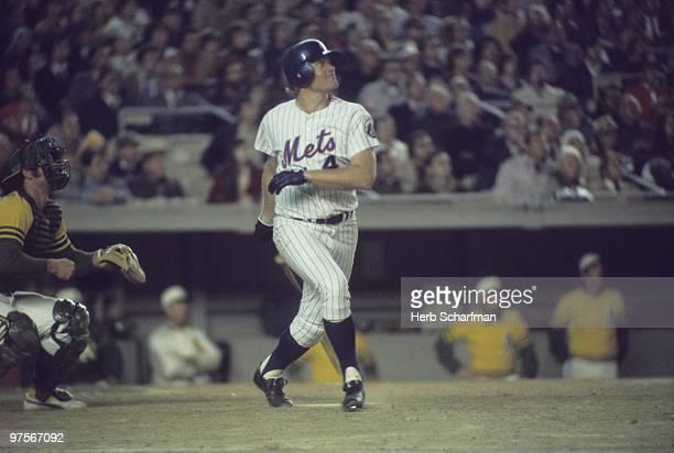 World Series New York Mets Rusty Staub in action at bat vs Oakland Athletics Game 3 Flushing NY CREDIT Herb Scharfman