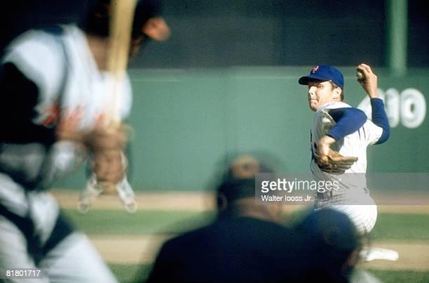 Baseball World Series New York Mets Tom Seaver in action pitching vs Baltimore Orioles Flushing NY