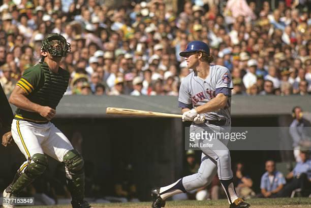 World Series New York Mets Wayne Garrett in action at bat vs Oakland Athletics at OaklandAlameda County Coliseum Game 1 Oakland CA CREDIT Neil Leifer