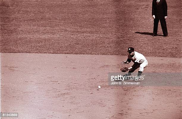 Baseball World Series New York Yankees Billy Martin in action fielding vs Brooklyn Dodgers Brooklyn NY