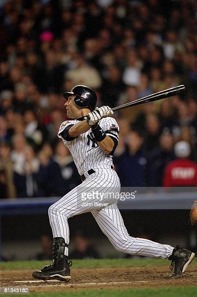 Baseball World Series New York Yankees Derek Jeter in action hitting game winning 10th inning HR vs Arizona Diamondbacks at Yankee Stadium Bronx NY