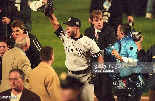 World Series New York Yankees Derek Jeter victorious after winning game and series vs New York Mets at Shea Stadium Game 5 Flushing NY CREDIT Chuck...