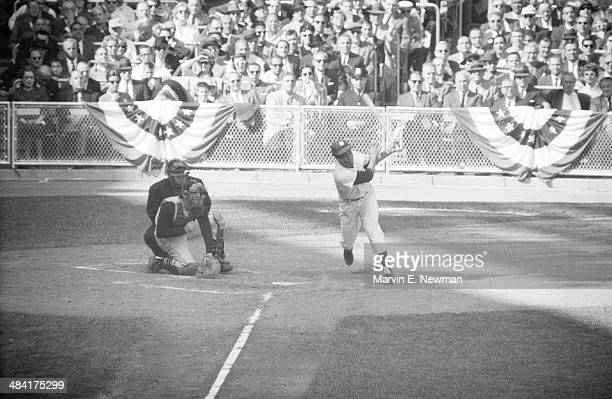 World Series New York Yankees Elston Howard in action at bat vs Pittsburgh Pirates at Yankee Stadium Game 3 Bronx NY CREDIT Marvin E Newman