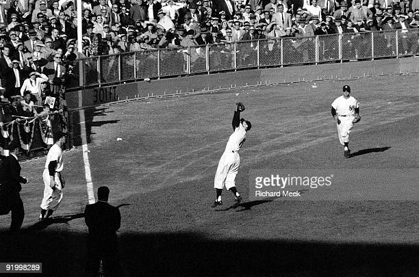 World Series New York Yankees Gil McDougald in action fielding vs Brooklyn Dodgers Game 4 Bronx NY 10/7/1956 CREDIT Richard Meek