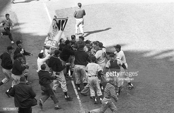 World Series New York Yankees Johnny Kucks and teammates victorious on field after winning Game 7 and championship series vs Brooklyn Dodgers at...
