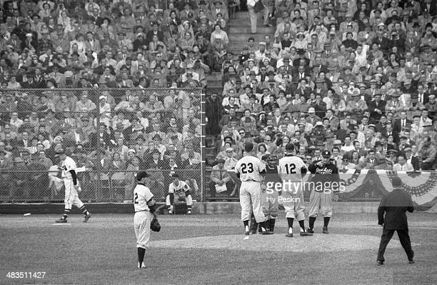 World Series New York Yankees manager Casey Stengel removing Tommy Byrne from game during mound visit vs Milwaukee Braves at County Stadium Game 4...
