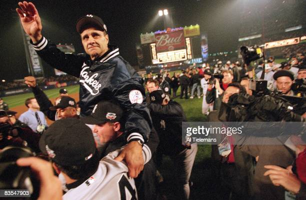 World Series New York Yankees manager Joe Torre victorious after winning World Series vs New York Mets Game 5 Flushing NY CREDIT Al Tielemans