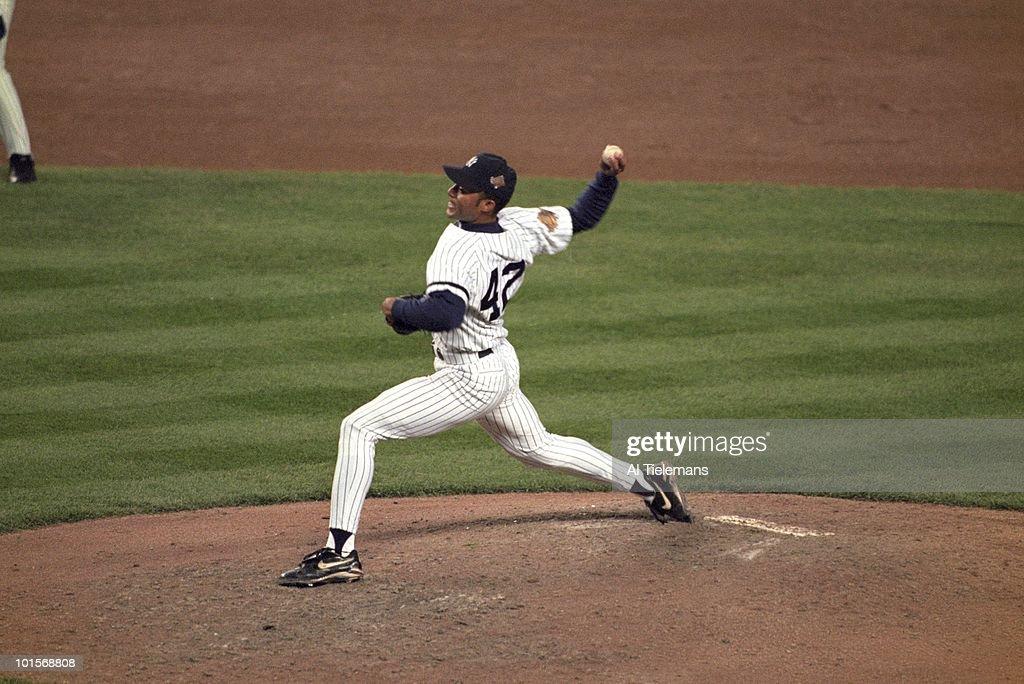 New York Yankees Mariano Rivera (42) in action, pitching vs Atlanta Braves. Game 6. Bronx, NY