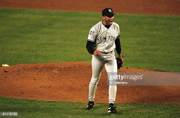 Baseball World Series New York Yankees Mariano Rivera victorious after getting final out of game vs New York Mets Flushing NY
