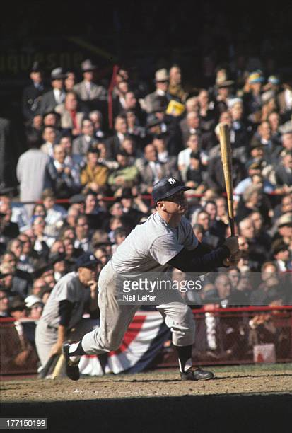 World Series New York Yankees Mickey Mantle in action at bat vs Pittsburgh Pirates at Forbes Field Game 2 Pittsburgh PA CREDIT Neil Leifer