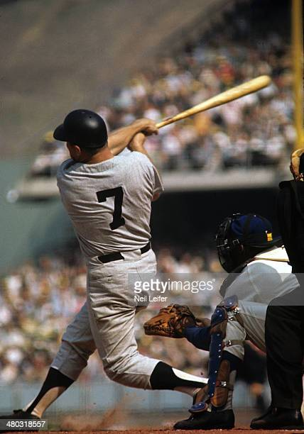 World Series New York Yankees Mickey Mantle in action at bat vs Los Angeles Dodgers at Dodger Stadium Los Angeles CA CREDIT Neil Leifer