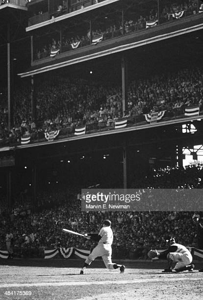 World Series New York Yankees Mickey Mantle in action at bat vs Pittsburgh Pirates at Yankee Stadium Game 3 Bronx NY CREDIT Marvin E Newman