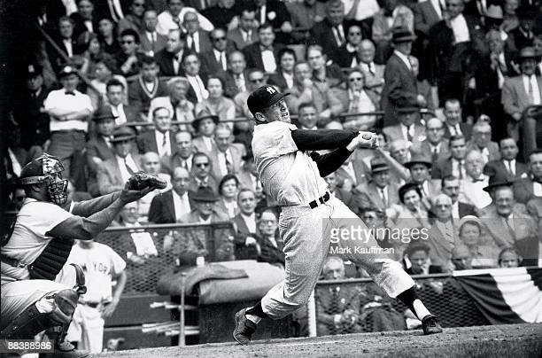 World Series New York Yankees Mickey Mantle in action at bat vs Brooklyn Dodgers Brooklyn NY 9/30/195510/2/1955 CREDIT Mark Kauffman