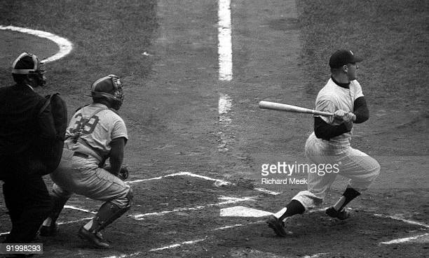 World Series New York Yankees Mickey Mantle in action at bat vs Brooklyn Dodgers Game 4 Bronx NY 10/7/1956 CREDIT Richard Meek