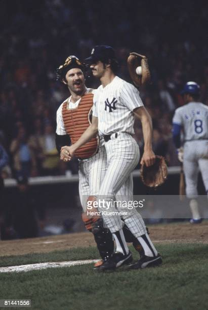 Baseball World Series New York Yankees Thurman Munson victorious with Ron Guidry after winning Game 3 vs Los Angeles Dodgers Bronx NY