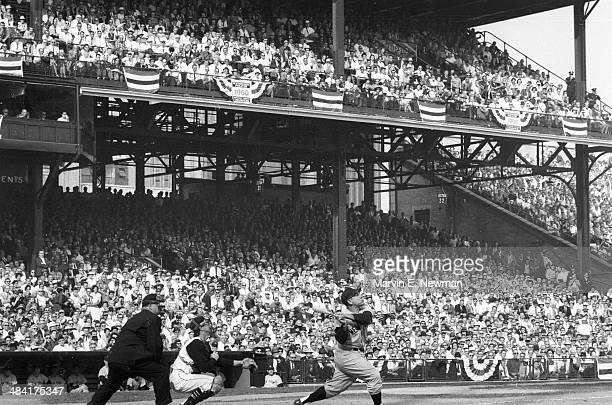 World Series New York Yankees Yogi Berra in action at bat vs Pittsburgh Pirates at Forbes Field Game 7 Pittsburgh PA CREDIT Marvin E Newman