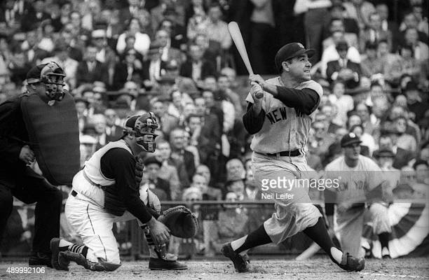 World Series New York Yankees Yogi Berra in action at bat vs Pittsburgh Pirates at Forbes Field Game 7 Pittsburgh PA CREDIT Neil Leifer