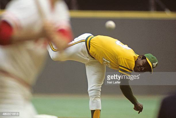 World Series Oakland Athletics Blue Moon Odom in action pitching vs Cincinnati Reds at Riverfront Stadium Game 7 Cincinnati OH CREDIT Neil Leifer