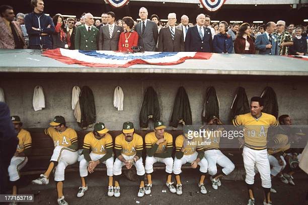 World Series Oakland Athletics owner Charlie Finley California Governor Ronald Reagan First Lady Nancy Reagan and MLB commissioner Bowie Kuhn seated...