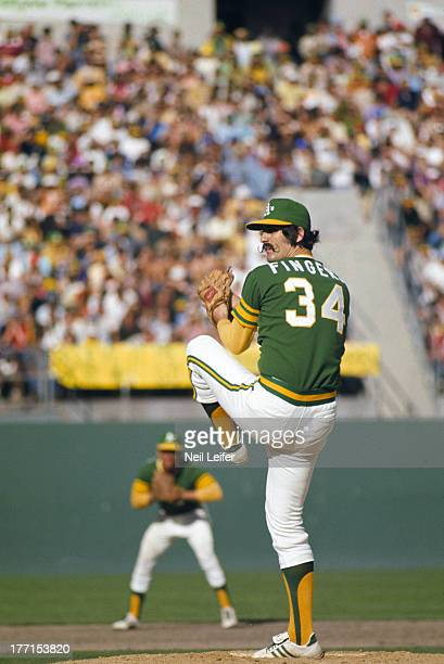 World Series Oakland Athletics Rollie Fingers in action pitching vs New York Mets at OaklandAlameda County Coliseum Game 7 Oakland CA CREDIT Neil...