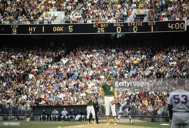 World Series Oakland Athletics Rollie Fingers on mound during 9th inning vs New York Mets at OaklandAlameda County Coliseum Oakland CA CREDIT Neil...