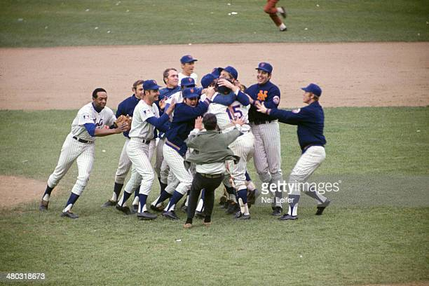 World Series Overall view of New York Mets victorious during on field celebration after winning Game 5 and championship series vs Baltimore Orioles...