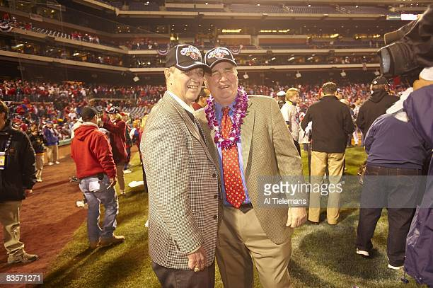 World Series Philadelphia Phillies team media announcer Harry Kalas and president and CEO David Montgomery victorious after winning game and series...