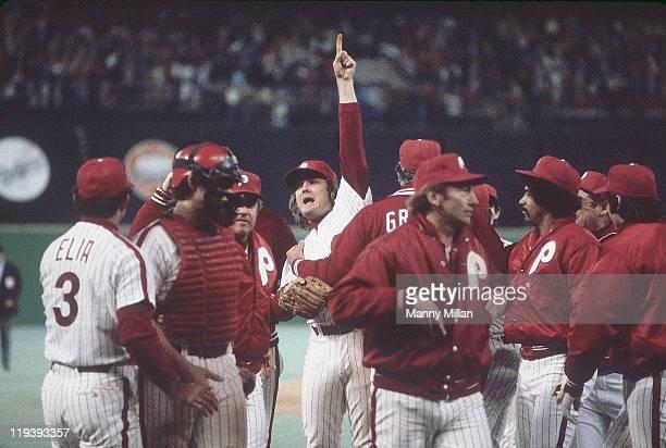 World Series Philadelphia Phillies Tug McGraw victorious on mound after winning Game 1 vs Kansas City Royals at Veterans Stadium Philadelphia PA...