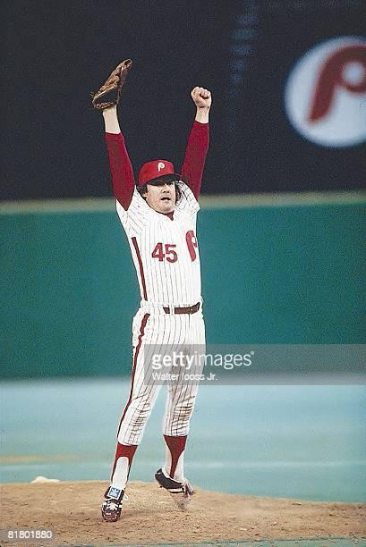 Baseball World Series Philadelphia Phillies Tug McGraw victorious on mound after winning Game 6 and series vs Kansas City Royals Philadelphia PA