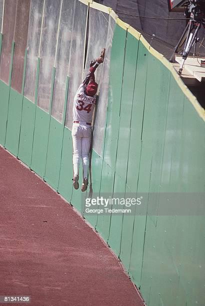 Baseball World Series Philadephia Phillies Gary Matthews in action fielding along outfield wall vs Baltimore Orioles Game 3 Philadelphia PA