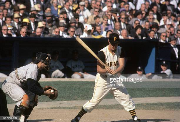 World Series Pittsburgh Pirates Bill Mazeroski in action at bat during game vs New York Yankees at Forbes Field Pittsburgh PA CREDIT Neil Leifer