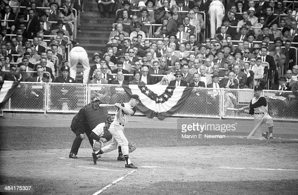 World Series Pittsburgh Pirates Bill Mazeroski in action at bat vs New York Yankees at Yankee Stadium Game 4 Bronx NY CREDIT Marvin E Newman