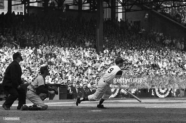 Baseball World Series Pittsburgh Pirates Bill Mazeroski in action hitting game winning walk off home run as New York Yankees Johnny Blanchard and NL...