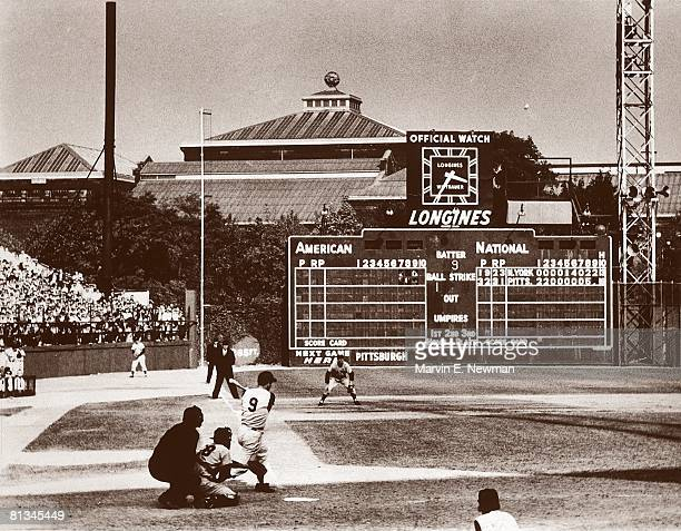 Baseball World Series Pittsburgh Pirates Bill Mazeroski in action hitting 9th inning game winning HR vs New York Yankees View of scoreboard at Forbes...