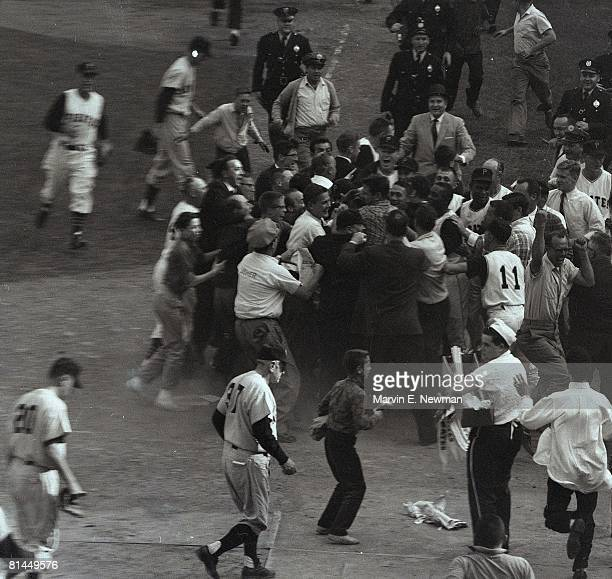 Baseball World Series Pittsburgh Pirates Bill Mazeroski victorious with team and fans after 9th inning game winning HR vs New York Yankees Pittsburgh...