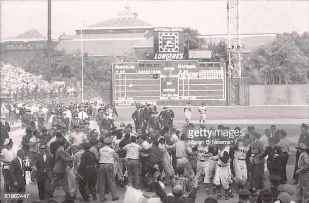 Baseball World Series Pittsburgh Pirates Bill Mazeroski victorious with team and fans after 9th inning game winning HR vs New York Yankees View of...