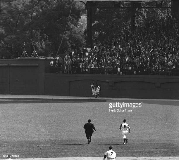 World Series Pittsburgh Pirates Bill Virdon and Roberto Clemente in action fielding pop fly hit by New York Yankees Mickey Mantle during 1st inning...