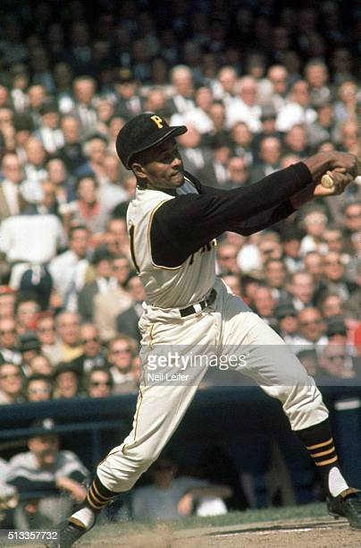 World Series Pittsburgh Pirates Roberto Clemente at bat during game vs New York Yankees at Forbes Field Pittsburgh PA CREDIT Neil Leifer