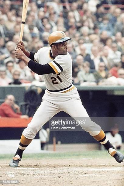 Baseball World Series Pittsburgh Pirates Roberto Clemente in action at bat vs Baltimore Orioles Game 1 Baltimore MD 10/9/1971