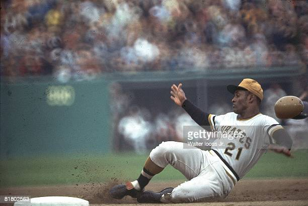Baseball World Series Pittsburgh Pirates Roberto Clemente in action making slide vs Baltimore Orioles Game 6 Baltimore MD