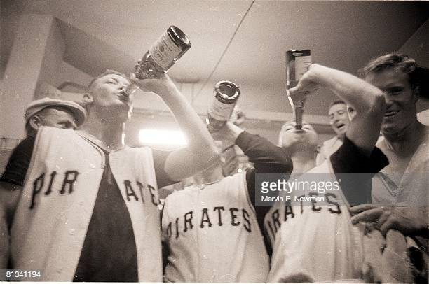Baseball World Series Pittsburgh Pirates victorious with champagne after game vs New York Yankees Pittsburgh PA