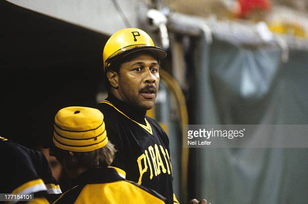 World Series Pittsburgh Pirates Willie Stargell in dugout during Game 5 vs Baltimore Orioles at Three Rivers Stadium Pittsburgh PA CREDIT Neil Leifer