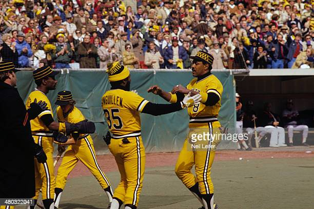 World Series Pittsburgh Pirates Willie Stargell victorious with Manny Sanguillen during Game 1 vs Baltimore Orioles at Memorial Stadium Baltimore MD...