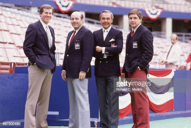 World Series Portrait of NBC Sports baseball announcers Tony Kubek Joe Garagiola Dick Enberg and Tom Seaver before St Louis Cardinals vs Milwaukee...